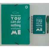 Kit Caderno, caderneta e pasta - João