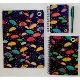 Kit Caderno, caderneta e pasta - Sombrinha
