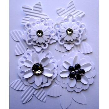 Kit Flores Branca de papel
