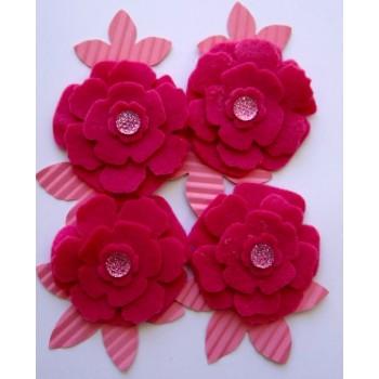 Kit Flores pink de feltro e papel