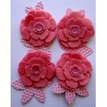 Kit Flores rosa de feltro e papel