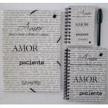 Kit Caderno, caderneta e pasta - Amor
