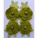 Kit Flores verde de feltro e papel